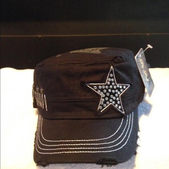 c143f15c1dfa6 NWT BLING BLACK CADET STYLE CAP WITH STAR MOTIF